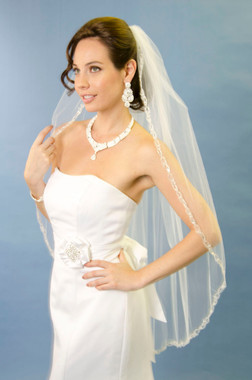 Ansonia Bridal Veil Style 170 - One tier fingertip veil with embroidered edge