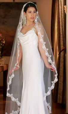 Erica Koesler Wedding Veil 669-60 - Scalloped Mantilla Cathedral