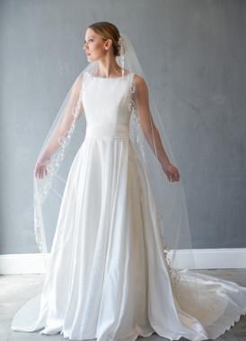 Erica Koesler Wedding Veil 873-100 - Rhinestone & Pearl Cathedral