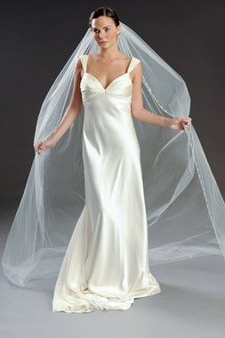 "Erica Koesler Wedding Veil 810-110 - Cathedral Scrolled- 110"" Long"
