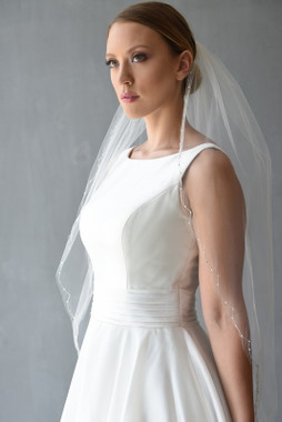 Erica Koesler Wedding Veil 855-40- Rhinestones Scalloped Edge