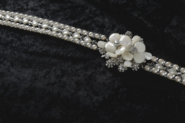 Erica Koesler Headband A-5531 - Crystal Headband with Curved Pearls