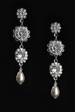 Erica Koesler Earring J-9400 - Rhinestone Floral Earring