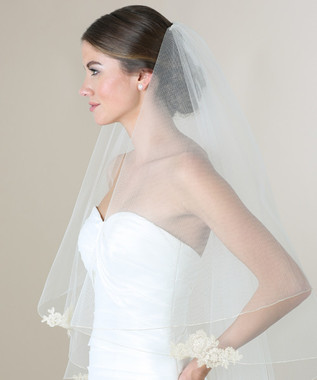 Bel Aire Bridal Wedding Veil V7281 - 2 Tier Metallic Rolled Edge