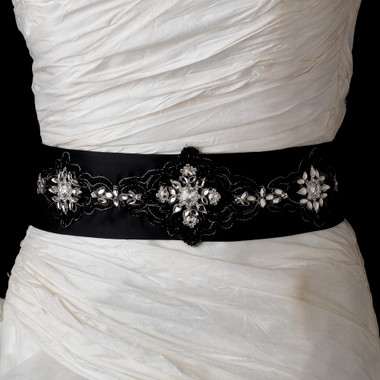 EBC Bridal Belt BL19 - Black Crystal Beaded Sash