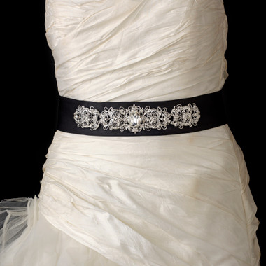 EBC Bridal Belt 25 - Black Crystal Beaded Matte Satin Sash