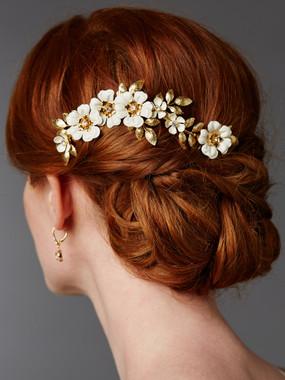 Hand Enameled Gold Tea Rose Designer Bridal Comb 4480HC-I-G