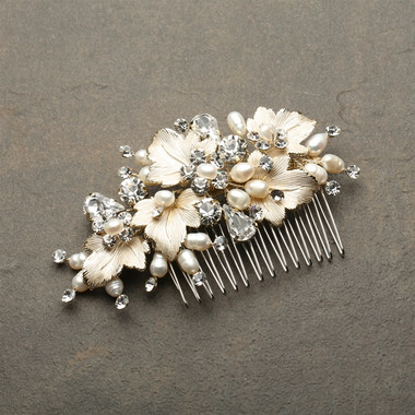 Couture Bridal Hair Comb with Hand Painted Gold Leaves, Freshwater Pearls and Crystals 4439HC-I-LTG