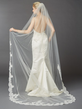 Cathedral Mantilla Wedding Veil with Dramatic Beaded Lace Edge  4422V-I-S