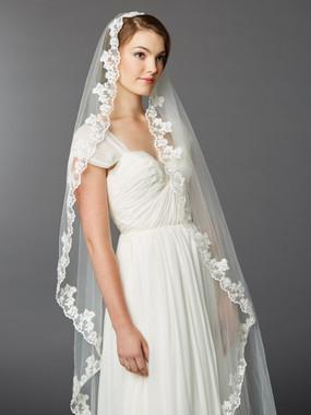 Mariell Single Layer Cathedral Mantilla Bridal Veil with Scalloped Lace Edge   4423V-I
