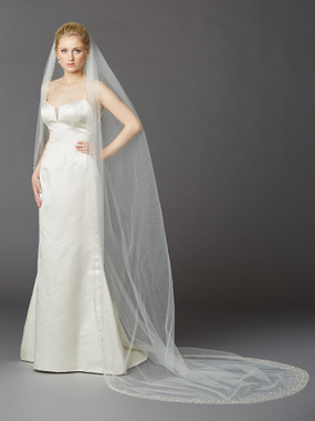 Cathedral Wedding Veil with Dramatic Crystal, Pearl and Beaded Edging  4424V-I