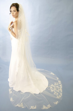 "Ansonia Bridal Veil Style 191L - Cathedral 120"" Long"