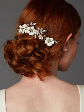 Hand Enameled Tea Rose Designer Bridal Comb 4480HC-I-S