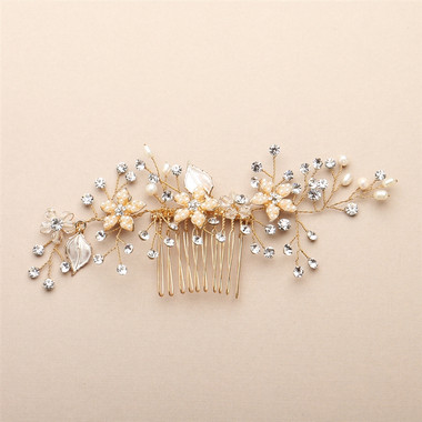 Bridal Hair Comb with Silvery Gold Leaves, Freshwater Pearl and Crystal Sprays 4425HC-I-G