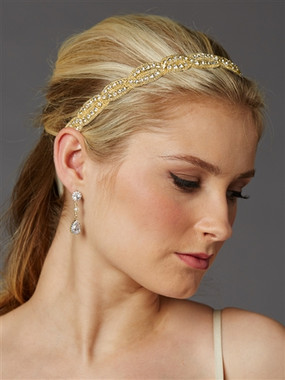 Golden Seed Beads and Crystal Rhinestones Headband 4458HB-G