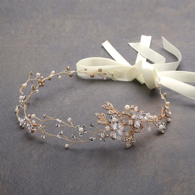 Handmade Bridal Headband with Painted Gold Vines  4386HB-I-G