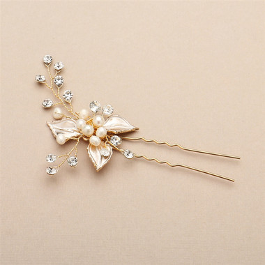Bridal Hair Pin with Silvery Gold Leaves, Freshwater Pearl and Crystal Sprays 4426HC-I-G