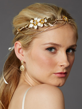 Hand-Enameled Floral Headband Crown with Preciosa Crystal Drapes 4446HB-I-G