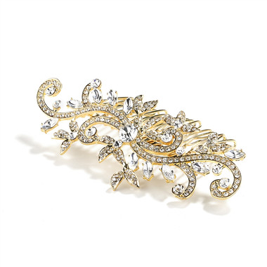 Popular Gold Wedding or Prom Hair Comb with Pave Crystal Vines 4027HC-G