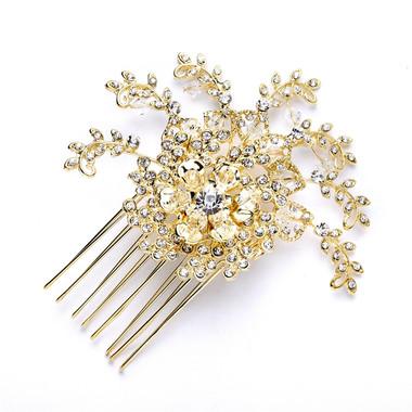 Wedding Crystal Spray Hair Comb in Gold 4028HC-G