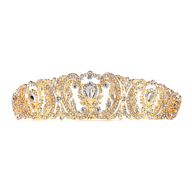 Retro Chic Vintage Gold Wedding Tiara with Pave Crystals  4186T-G