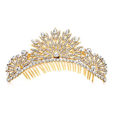 Spectacular Crystal Gold Art Deco Wedding or Prom Tiara Comb 4188TC-G