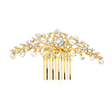 Popular Crystal Wedding or Prom Comb with Shimmering Gold Leaves  4190HC-G