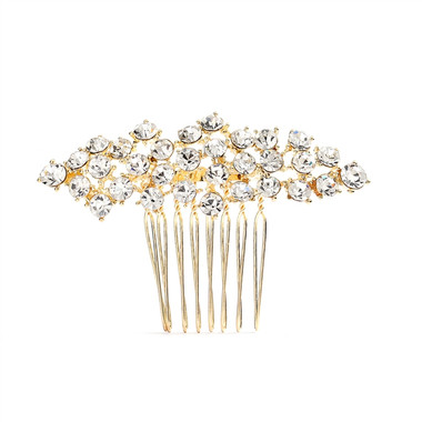 Crystal Clusters Gold Wedding or Prom Comb  4191HC-G-CR