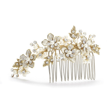 Brushed Gold and Ivory Pearl Wedding Comb  H001-I-G
