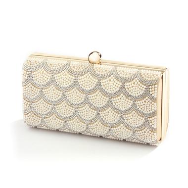 Scalloped Crystal and Ivory Pearl Bridal Bag 4391EB-I-G