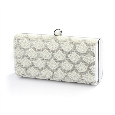 Scalloped Crystal and White Pearl Bridal Evening Bag or Wedding Clutch  4391EB