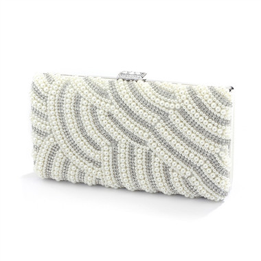 Soft Cream Pearl Bridal Evening Bag with Bezel Crystals 4398EB