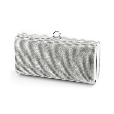 Micropave Crystal Bridal Clutch Evening Bag in Silver 4390EB-CR-S
