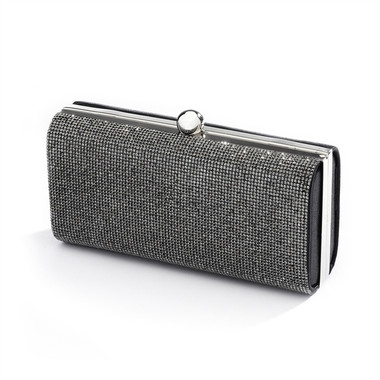 Micropave Crystal Bridal Clutch Evening Bag in Hematite 4390EB-HM-S