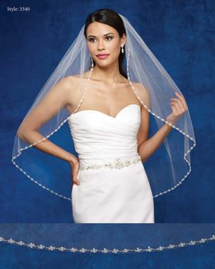 Marionat Bridal Veils 3340- The Bridal Veil Company - Beaded Pearl Edge