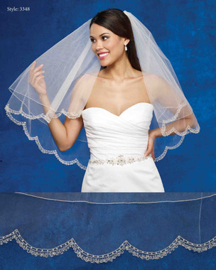 Marionat Bridal Veils 3348- The Bridal Veil Company - Scalloped Embroidered Edge