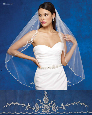 Marionat Bridal Veils 3365- The Bridal Veil Company - Embroidered Design Edge
