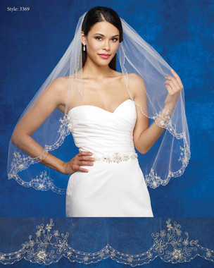 Marionat Bridal Veils 3369- The Bridal Veil Company - Scalloped Embroidered Design