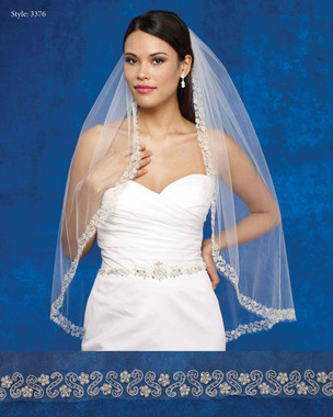 Marionat Bridal Veils 3376- The Bridal Veil Company - Beaded Embroidered Design