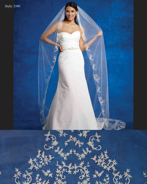 Marionat Bridal Veils 3390- The Bridal Veil Company - Cathedral Embroidered Leaves Design