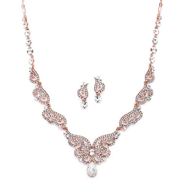 Mariell Bridals Rose Gold Art Deco Necklace & Earrings Set 4181S-RG