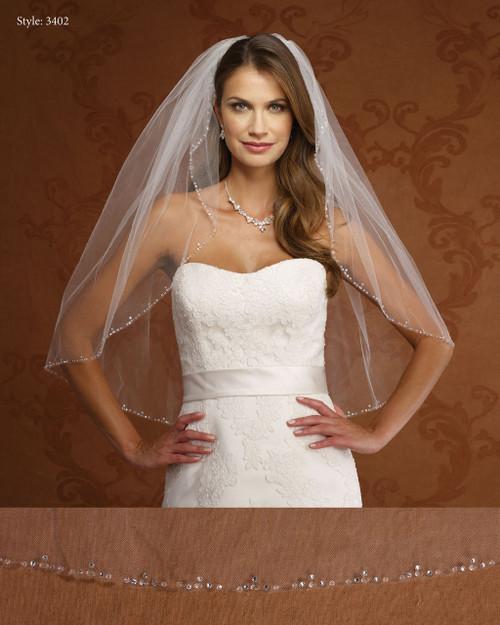 Marionat Bridal Veils 3402- Rhinestone and Crystal Edge- The Bridal Veil Company