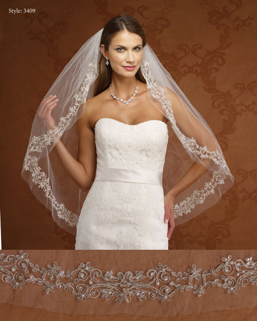 Marionat Bridal Veils 3409- Embroidered Design- The Bridal Veil Company