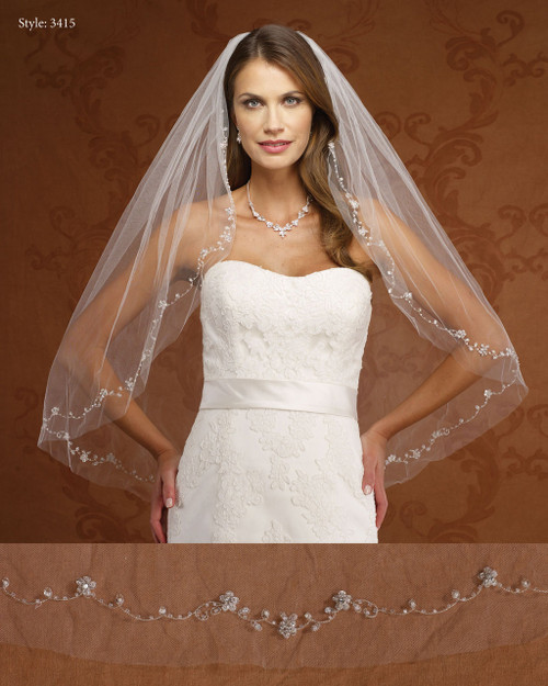 Marionat Bridal Veils 3415- Embroidered Beaded Flowers-The Bridal Veil Company