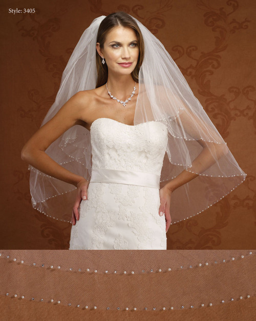 Marionat Bridal Veils 3405- Two Tier Pearl and Rhinestone Edge- The Bridal Veil Company