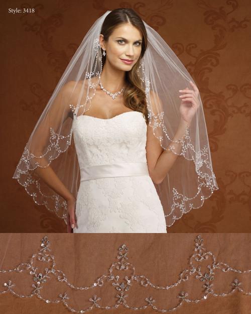 Marionat Bridal Veils 3418- Beaded Scallop Design-The Bridal Veil Company