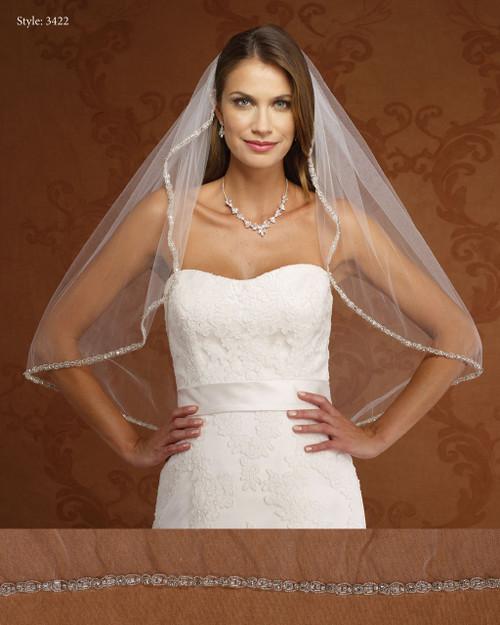 Marionat Bridal Veils 3422-Rhinestone Beaded Edge-The Bridal Veil Company