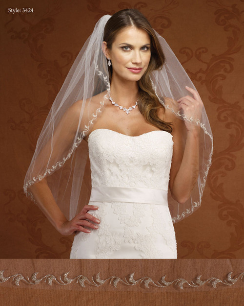 Marionat Bridal Veils 3424-Embroidered Design-The Bridal Veil Company