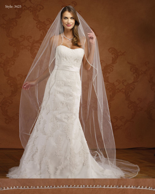 Marionat Bridal Veils 3425- Angel Cut Pearl/Rhinestone Edge-The Bridal Veil Company