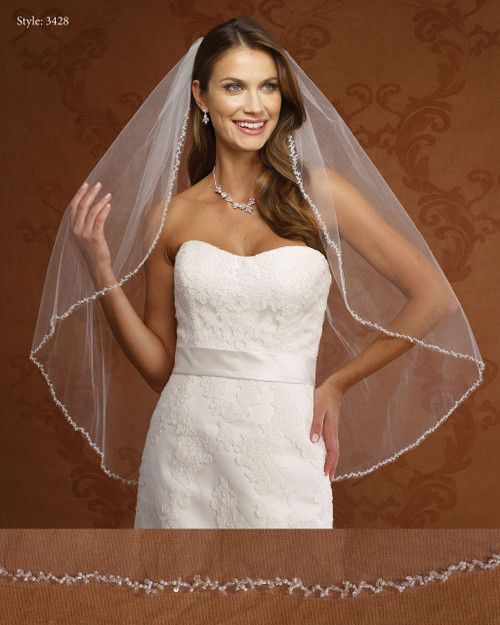 Marionat Bridal Veils 3428- Beaded Pearl Crystal Edge -The Bridal Veil Company